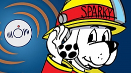 Drawing of dog wearing fire fighter outfit listening for an alarm