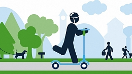 Illustration of person riding scooter