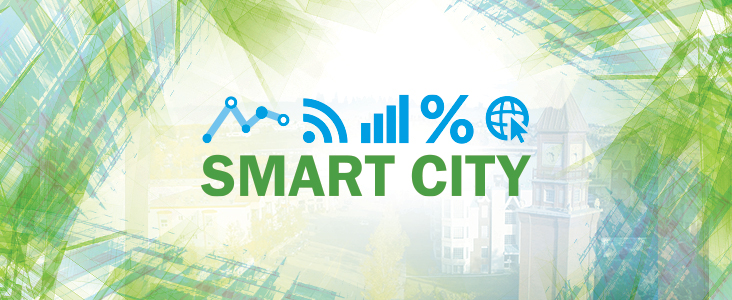 A Smart City headline graphic with a number of data-related illustrations