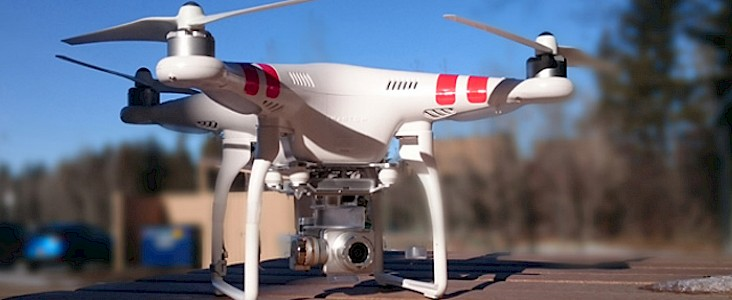 The City's UAV waits to lift-off from a picnic table in St. Albert's downtown.