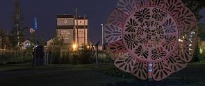 The Butterfly Kaleidoscope public art installation in front of St. Albert's Grain Elevators