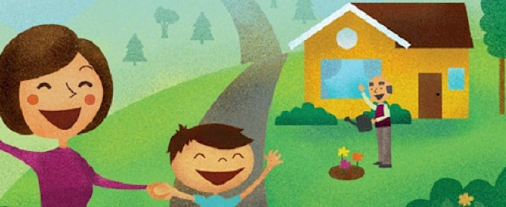 Illustration of Women, Man and Boy Waving in front of a house