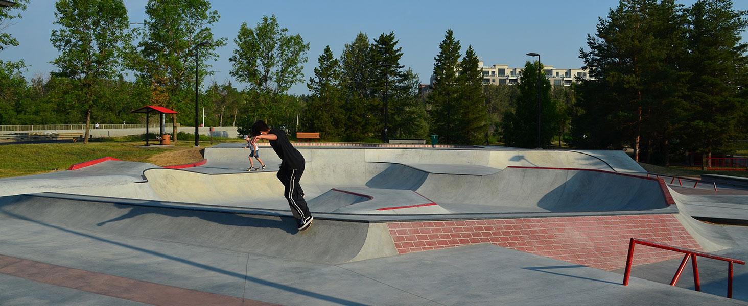 Riders at the new Woodlands Skatepark in Saint Albert, Alberta