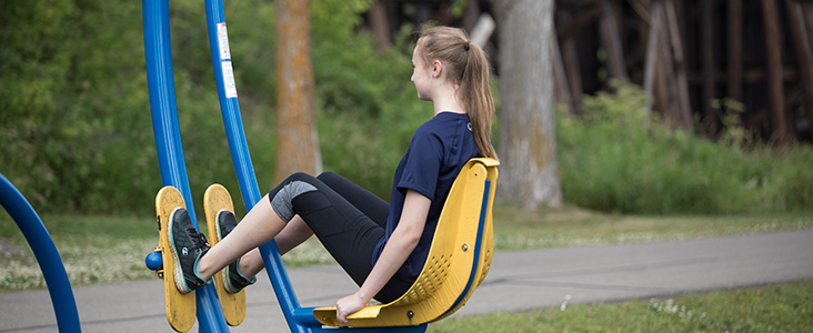 Woman doing fitness at Lions Park