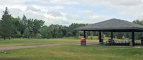 Picnic shelter in lions park.