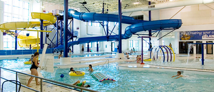 Photo of the water play centre at Servus Place including the pools and water slides.