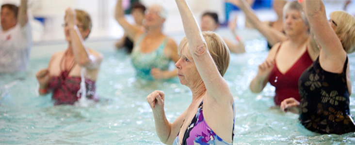 Photo of women participating in a aqua-size class at Servus Place