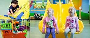 Banner image with three photos; one with two girls sitting on the end of slides; one with a little girl climbing a playground and the last of two boys playing in a ship