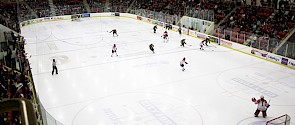 Photo of a hockey game at Servus Place in the Go Auto arena