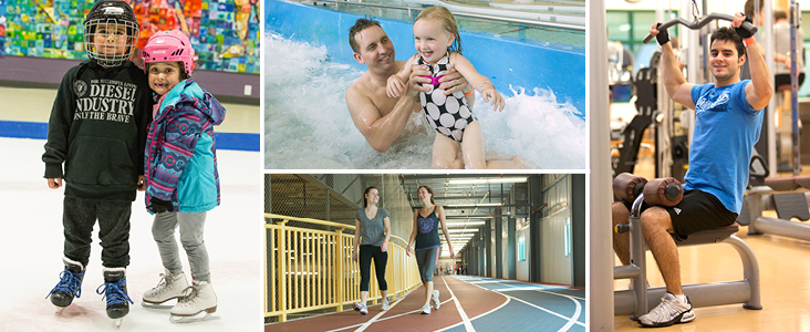 Banner image with 4 photos; one with a girl and boy in the leisure ice; one with a dad and daughter coming down the water slide; one with two women walking on the track; and one with a many doing a lat pull down