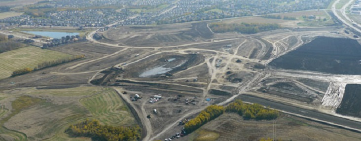 Aerial view of grading work at a developing property