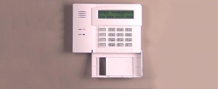 A security alarm control panel