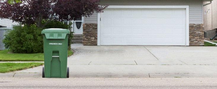 Green Garbage bin at the end of the driveway.
