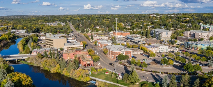 An aerial view of Downtown St. Albert and the Sturgeon River