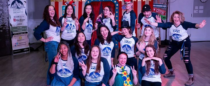Photo of the 2019 Amplify Committee posing with silly faces.