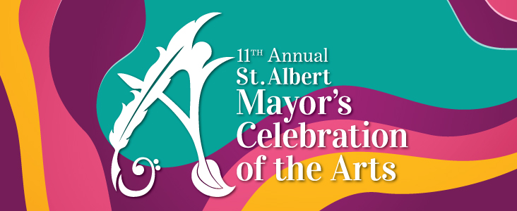 Banner images with a colourful background and the words St. Albert Mayor's Celebration of the Arts