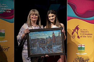 Mayor Heron with Youth Artist Hailey Benedict