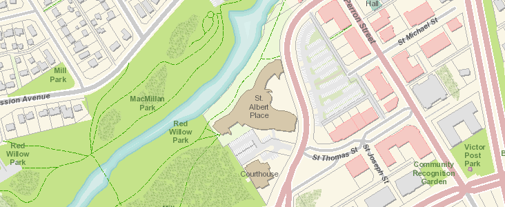 A map of Downtown St. Albert from our LandScape system