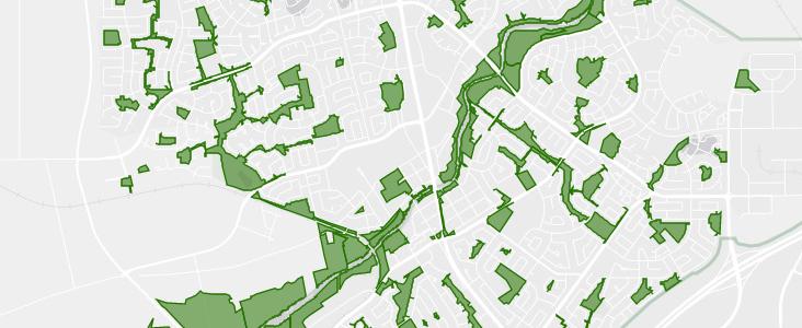 A map view of St. Albert's park lands