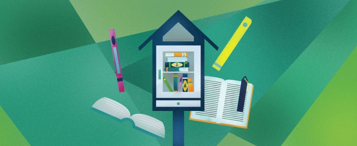 An illustration of a little free library