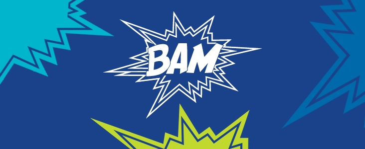 BAM logo with starbursts around it