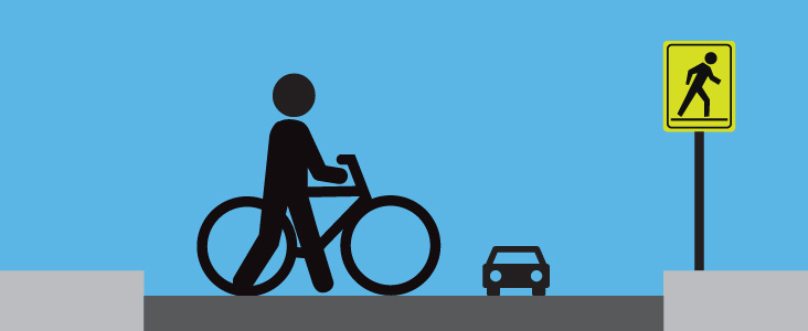 Illustration of person walking bike across a street