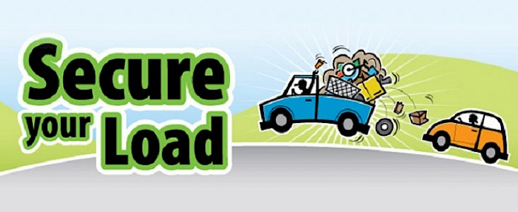 Illustration of truck with items falling out of its truck bed and a car behind it; words Secure your load on the image