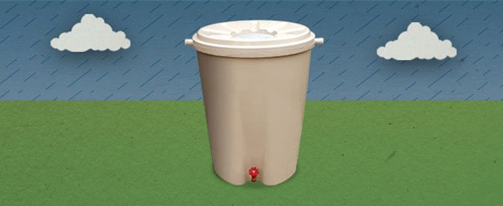 Illustration of a rain barrel