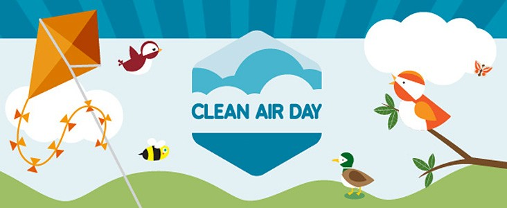 Illustration of birds, a bee and a kite with the words Clean Air Day
