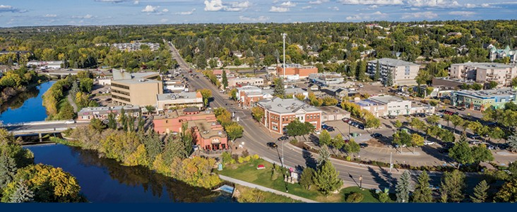 Aerial photo of downtown St. Albert including the river.