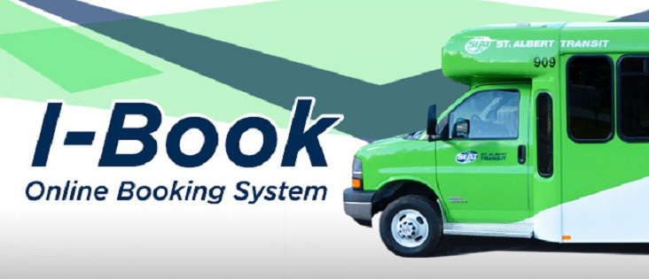 Banner with a Handibus on the right and the words - I-Book Online Booking System on the left