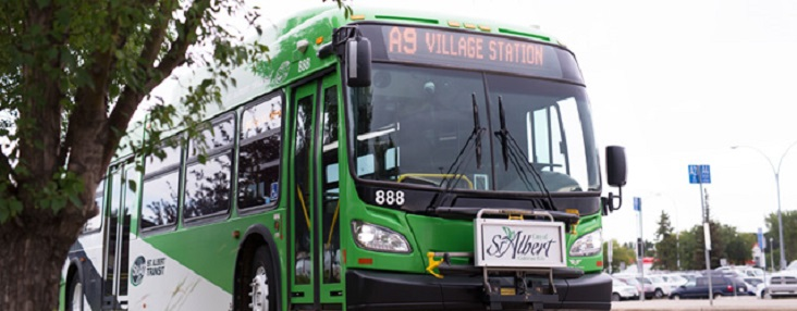 Photo of a St. Albert Transit bus parked at a Village Station park and ride
