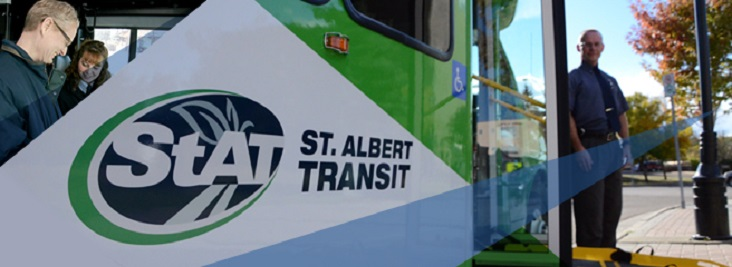 Banner image with a photo of the faces of two people on the left and a photo of a St. Albert Transit bus on the right with a bus driver standing beside the front door of the bus