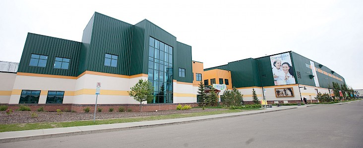 Exterior shot of Servus Credit Union Place in Saint Albert