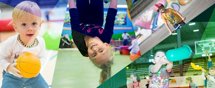 A collage of children playing at the Servus Place recreation centre