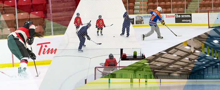 A collage of people playing hockey in an arena