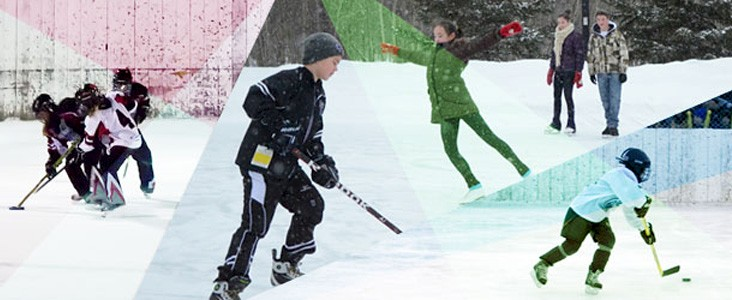 A collage of people playing ringette, hockey and skating outdoors
