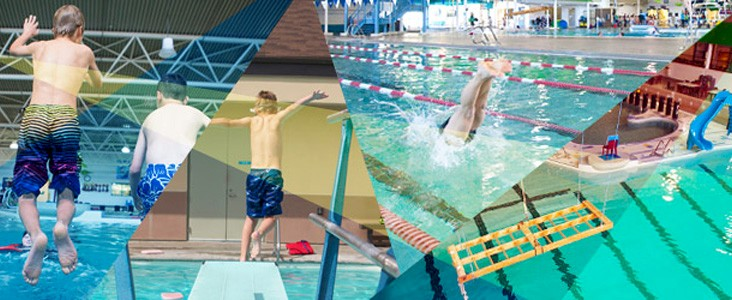 A collage of swimmers at Fountain Park Recreation Centre