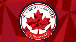 A maple leaf logo with the words St. Albert celebrates Canada Day