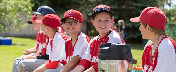 Children playing at a baseball game