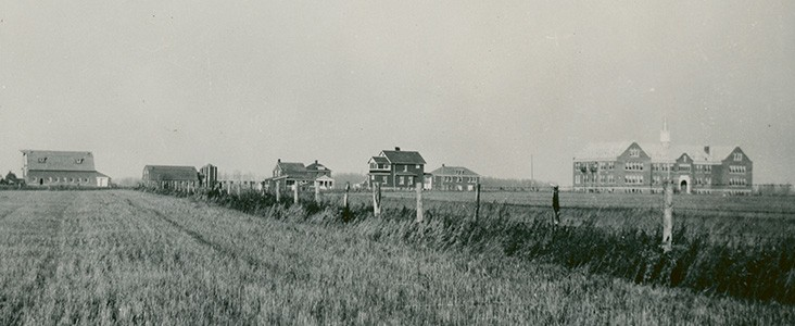 Poundmaker residential school with other houses and barns