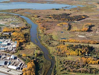 An aerial view of the Sturgeon River/Red Willow valley from downtown pointing westward