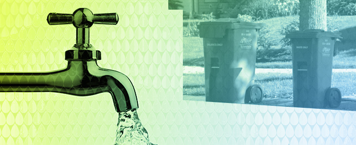 A collage of a water tap and roadside refuse bins