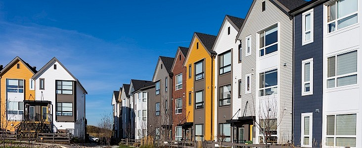 Photo of colourful townhouses