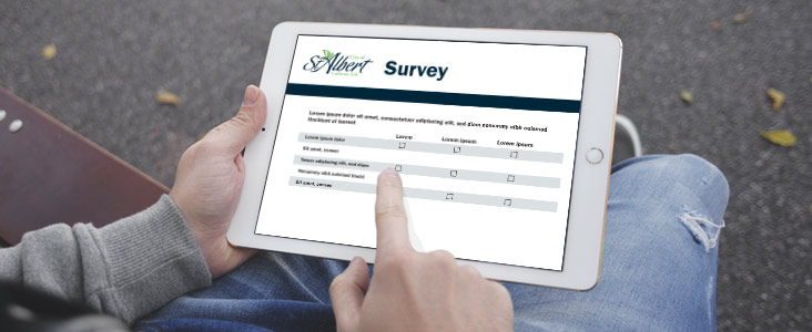 iPad with survey showing