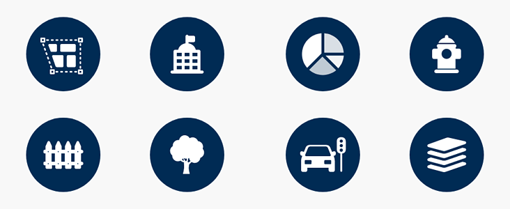 Eight circles containing different Open Data category icons