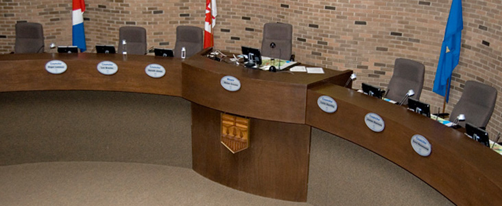 An overhead view of St. Albert's Council Chambers