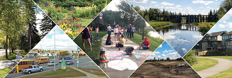 A collage of outdoor community scenes and activities