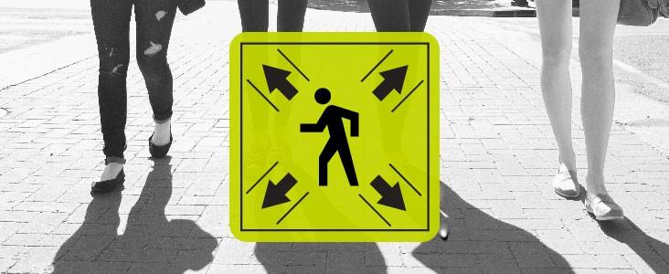 Pedestrians crossing a street