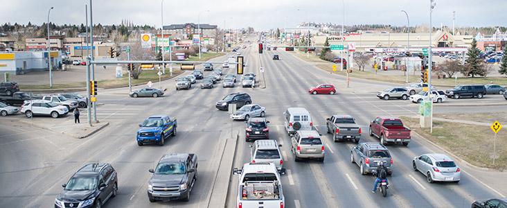 Traffic on St. Albert Trail
